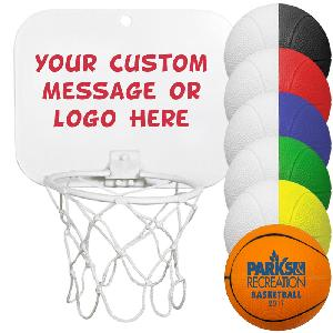 "Mini Backboard Sets with Foam Basketballs - Mini Backboard Sets (Imprinted 4"" inch Foam Basketballs)"