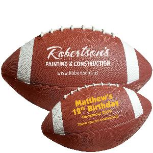 "12 1/2"" Rubber Footballs with White Stripes - Mid Size Rubber Footballs"