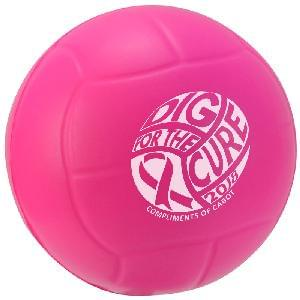 "2 1/2"" Stress Mini Volleyballs (Awareness) - Awareness Pink Volleyball Stress Relievers"